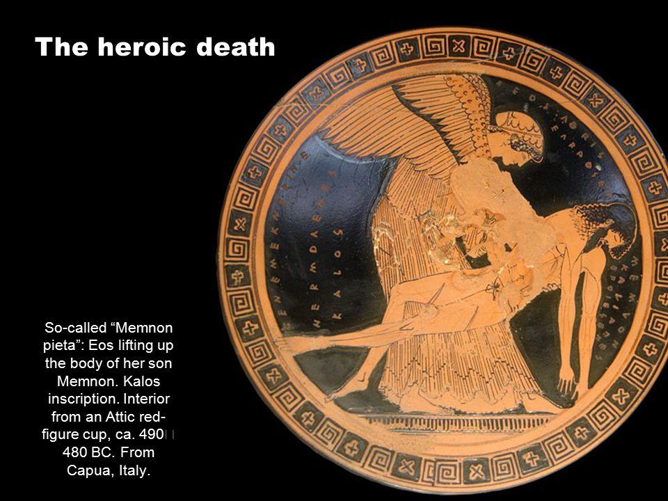 So-called Memnon pieta : Eos lifting up the body of her son Memnon.
