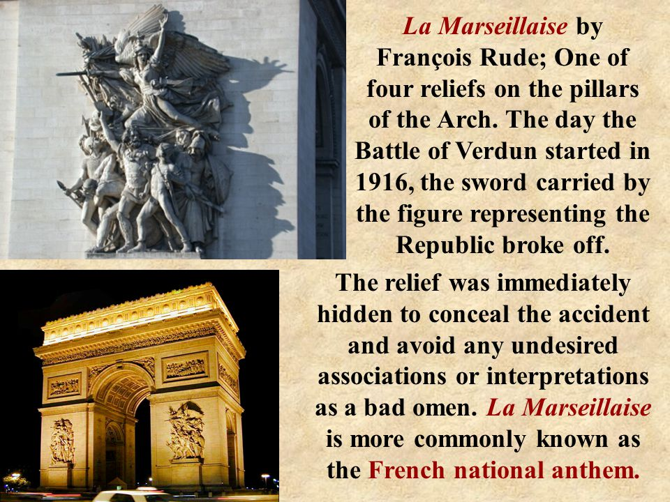 La Marseillaise by François Rude; One of four reliefs on the pillars of the Arch.