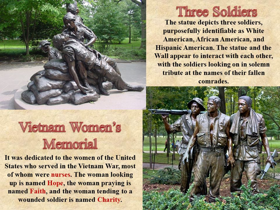 The statue depicts three soldiers, purposefully identifiable as White American, African American, and Hispanic American.