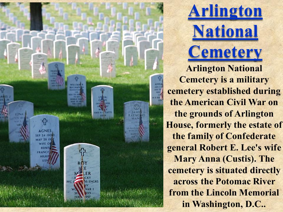Arlington National Cemetery Arlington National Cemetery Arlington National Cemetery is a military cemetery established during the American Civil War on the grounds of Arlington House, formerly the estate of the family of Confederate general Robert E.