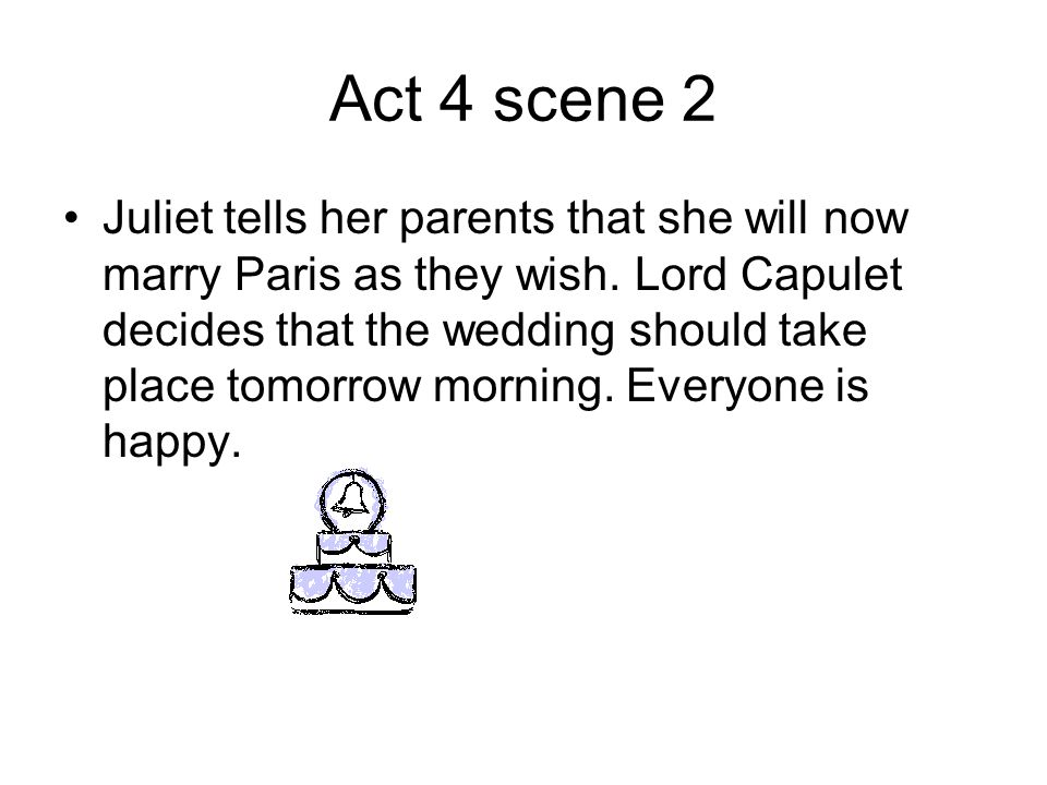 Act 4 scene 2 Juliet tells her parents that she will now marry Paris as they wish.