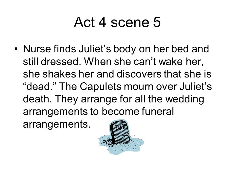 "Act 4 scene 5 Nurse finds Juliet's body on her bed and still dressed. When she can't wake her, she shakes her and discovers that she is ""dead."" The Ca"