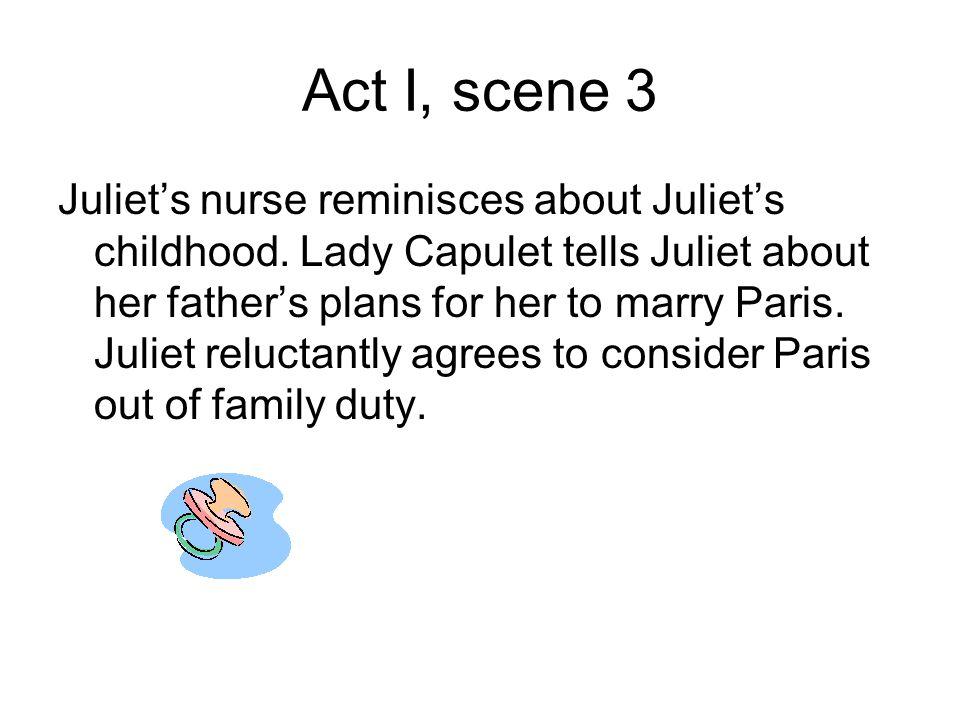 Act I, scene 3 Juliet's nurse reminisces about Juliet's childhood.