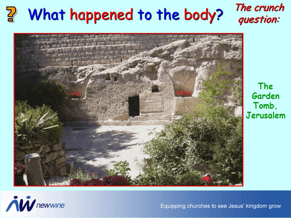 The Garden Tomb, Jerusalem What happened to the body The crunch question: