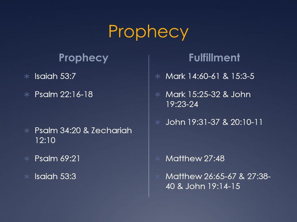 Prophecy  Isaiah 53:7  Psalm 22:16-18  Psalm 34:20 & Zechariah 12:10  Psalm 69:21  Isaiah 53:3 Fulfillment  Mark 14:60-61 & 15:3-5  Mark 15:25-32 & John 19:23-24  John 19:31-37 & 20:10-11  Matthew 27:48  Matthew 26:65-67 & 27:38- 40 & John 19:14-15
