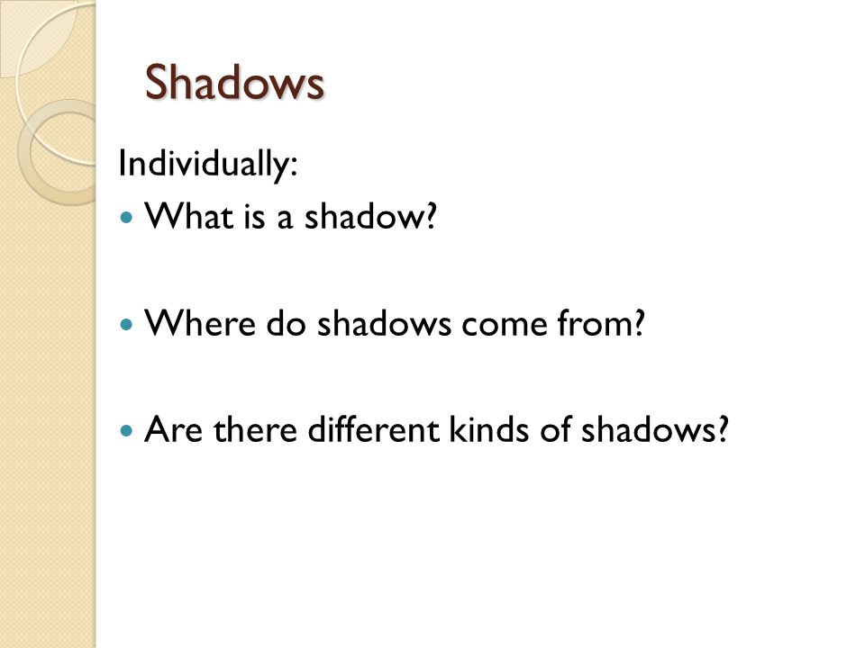 Individually: What is a shadow. Where do shadows come from.