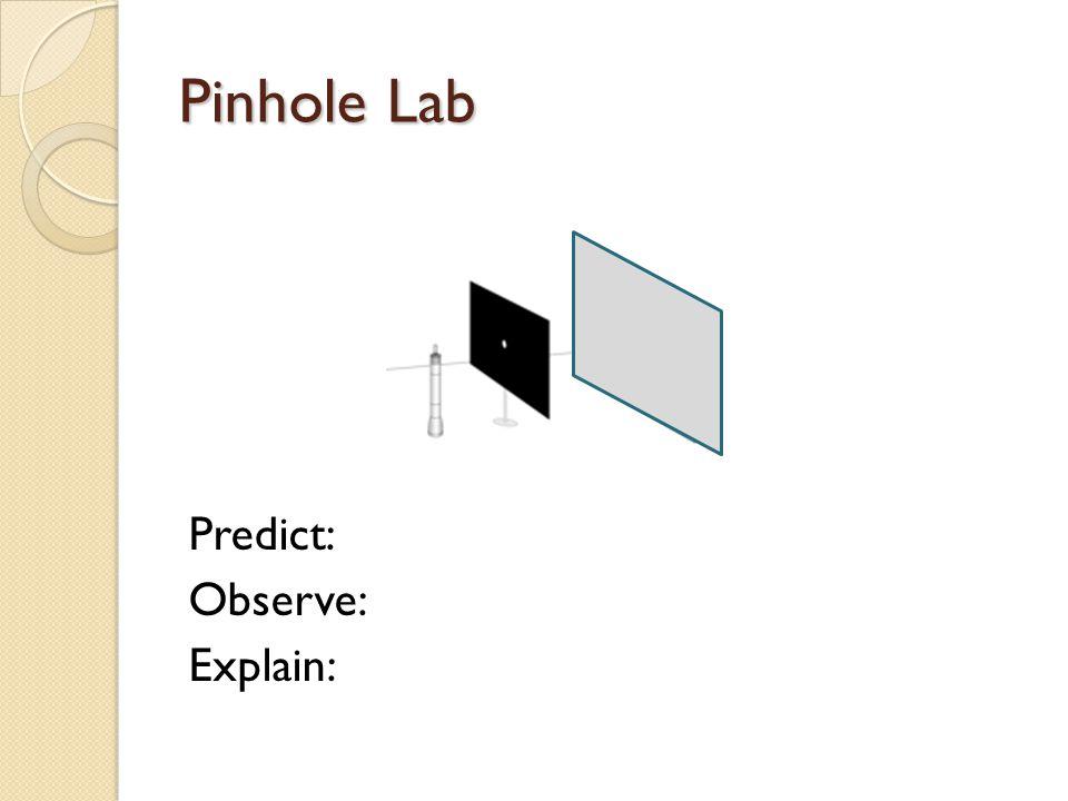 Pinhole Lab Predict: Observe: Explain: