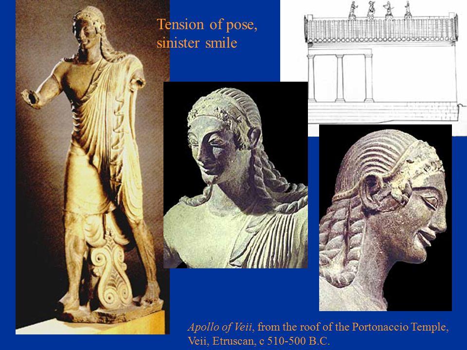 Apollo of Veii, from the roof of the Portonaccio Temple, Veii, Etruscan, c 510-500 B.C. Tension of pose, sinister smile