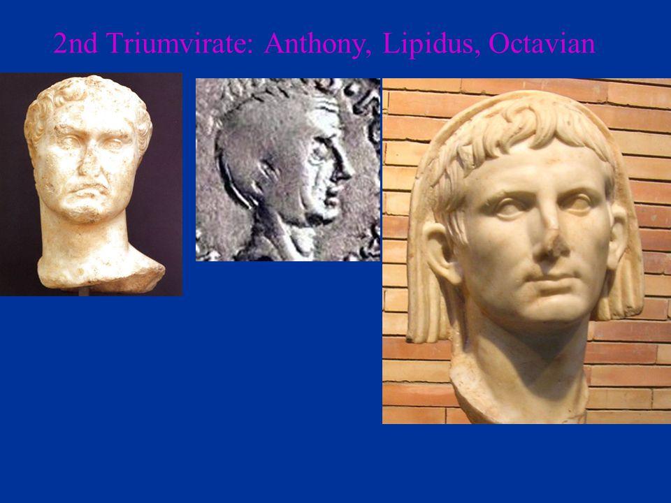 2nd Triumvirate: Anthony, Lipidus, Octavian