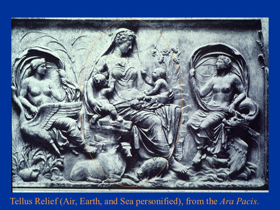 Tellus Relief (Air, Earth, and Sea personified), from the Ara Pacis.