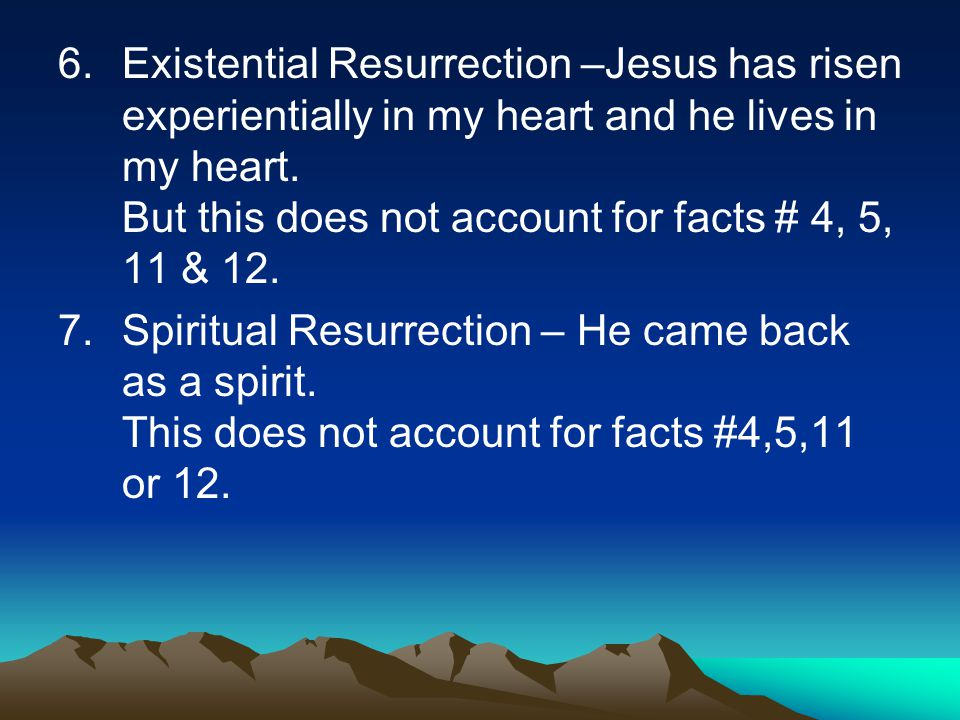 6.Existential Resurrection –Jesus has risen experientially in my heart and he lives in my heart.