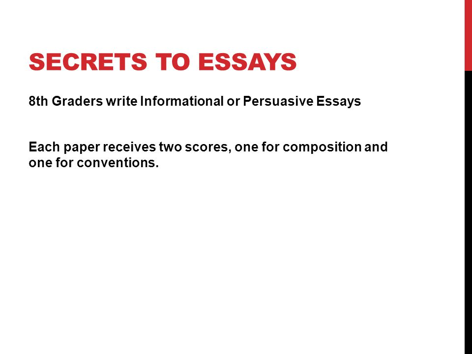 SECRETS TO ESSAYS 8th Graders write Informational or Persuasive Essays Each paper receives two scores, one for composition and one for conventions.