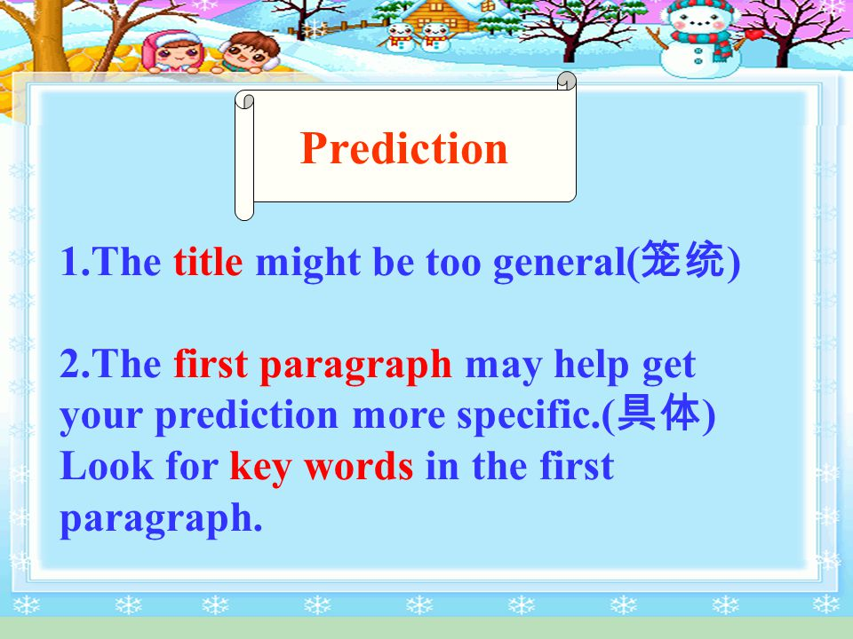 C an you predict what the passage is about