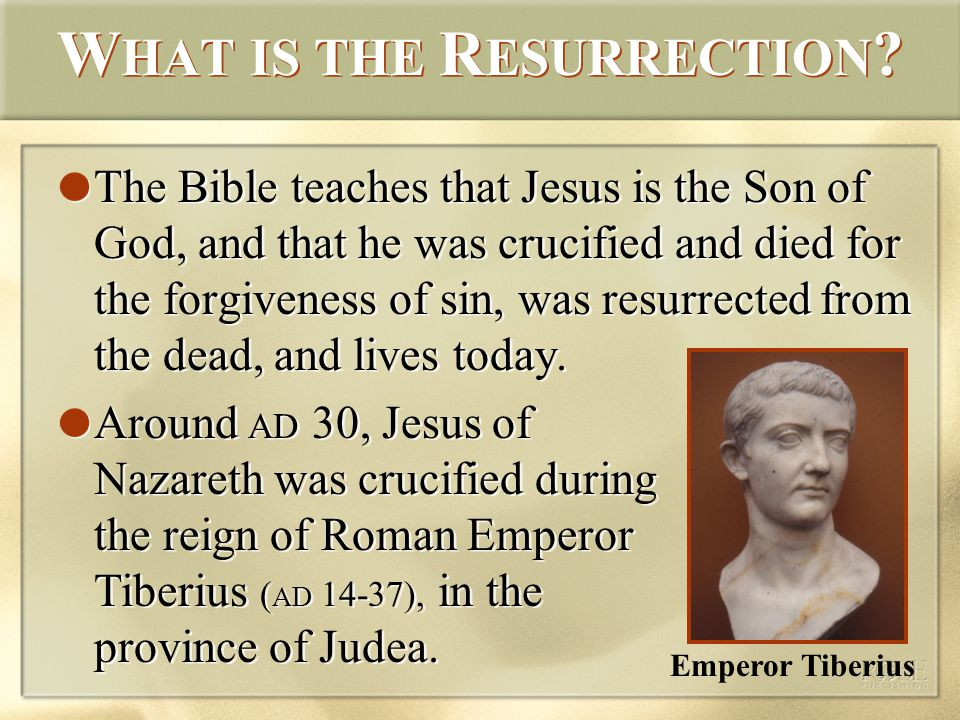 The Bible teaches that Jesus is the Son of God, and that he was crucified and died for the forgiveness of sin, was resurrected from the dead, and lives today.