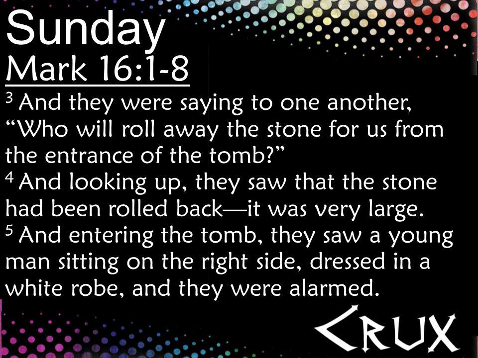 Sunday Mark 16:1-8 6 And he said to them, Do not be alarmed.