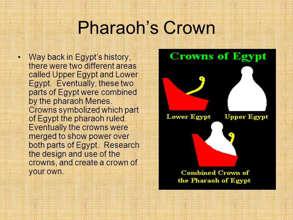 Pharaoh's Crown Way back in Egypt's history, there were two different areas called Upper Egypt and Lower Egypt. Eventually, these two parts of Egypt w