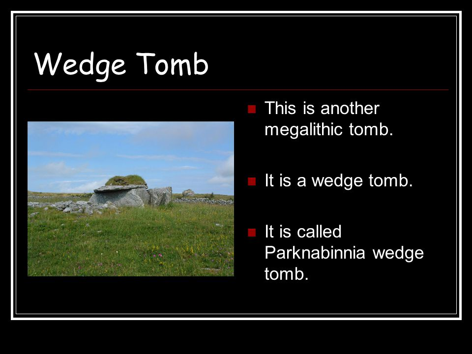 Wedge Tomb This is another megalithic tomb. It is a wedge tomb. It is called Parknabinnia wedge tomb.