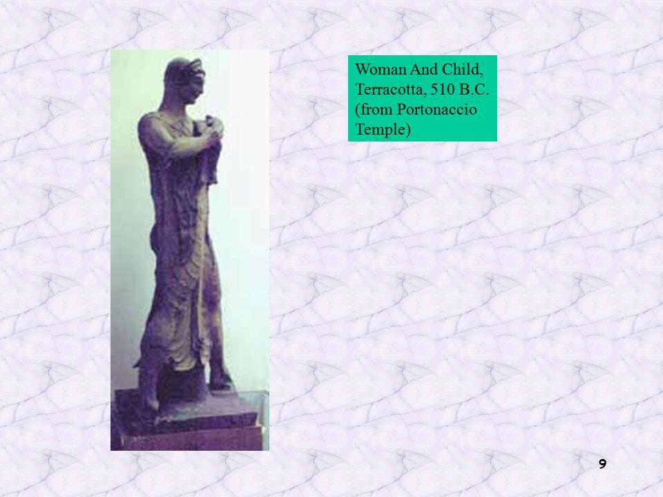 9 Woman And Child, Terracotta, 510 B.C. (from Portonaccio Temple)
