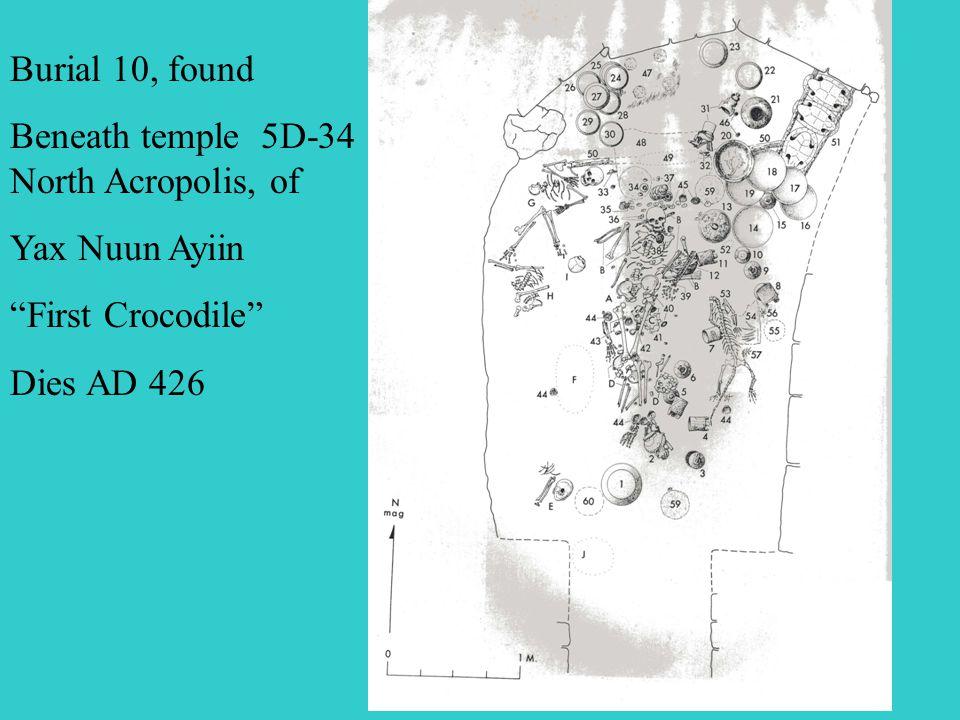 Burial 10, found Beneath temple 5D-34 North Acropolis, of Yax Nuun Ayiin First Crocodile Dies AD 426