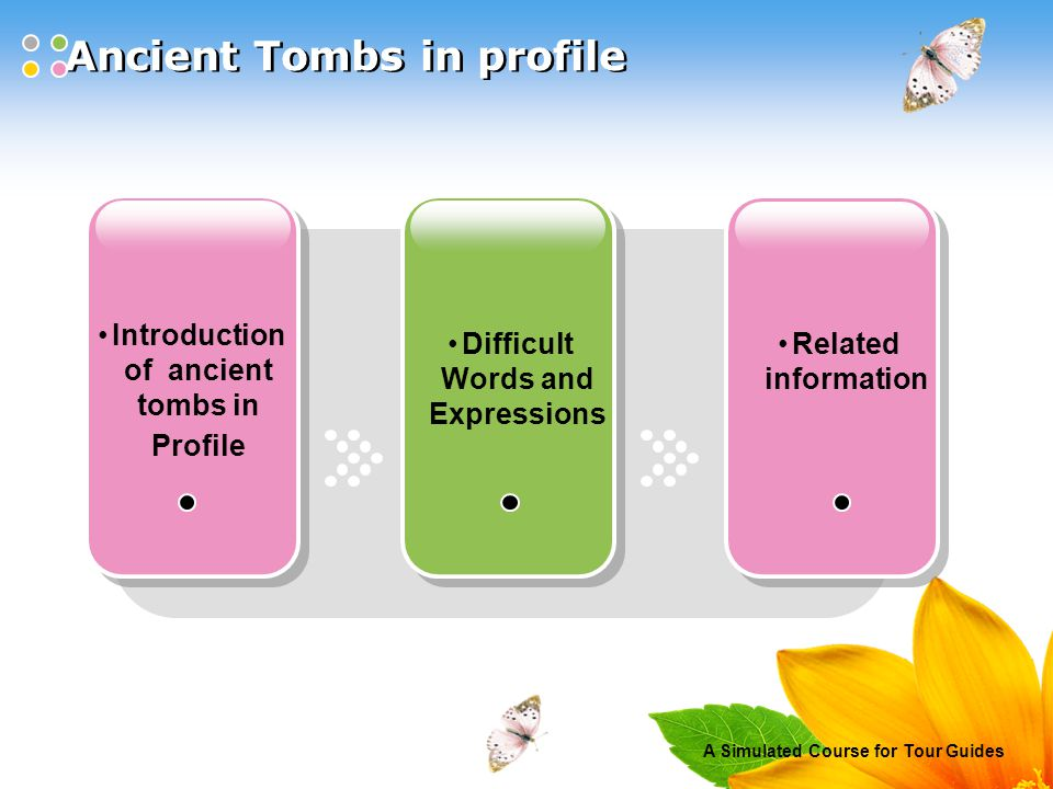A Simulated Course for Tour Guides Ancient Tombs in profile Introduction of ancient tombs in Profile Difficult Words and Expressions Related information