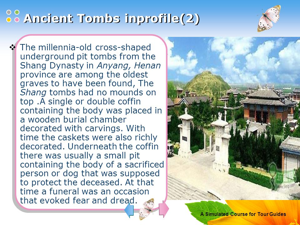 A Simulated Course for Tour Guides Description of the contents Please interpret the following into Chinese orally.