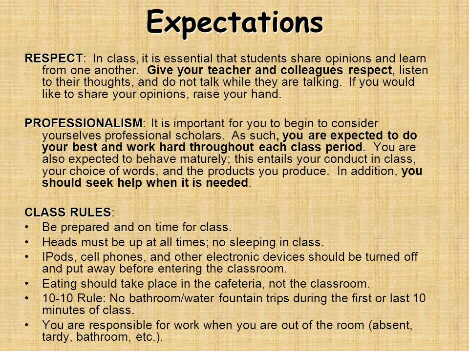 Expectations RESPECT RESPECT: In class, it is essential that students share opinions and learn from one another.
