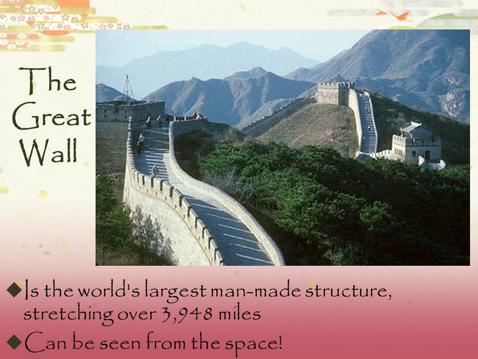 The Great Wall  Was mainly built from earth, stones and wood  The wall had defensive fighting stations, to which wall defenders may retreat if overwhelmed.