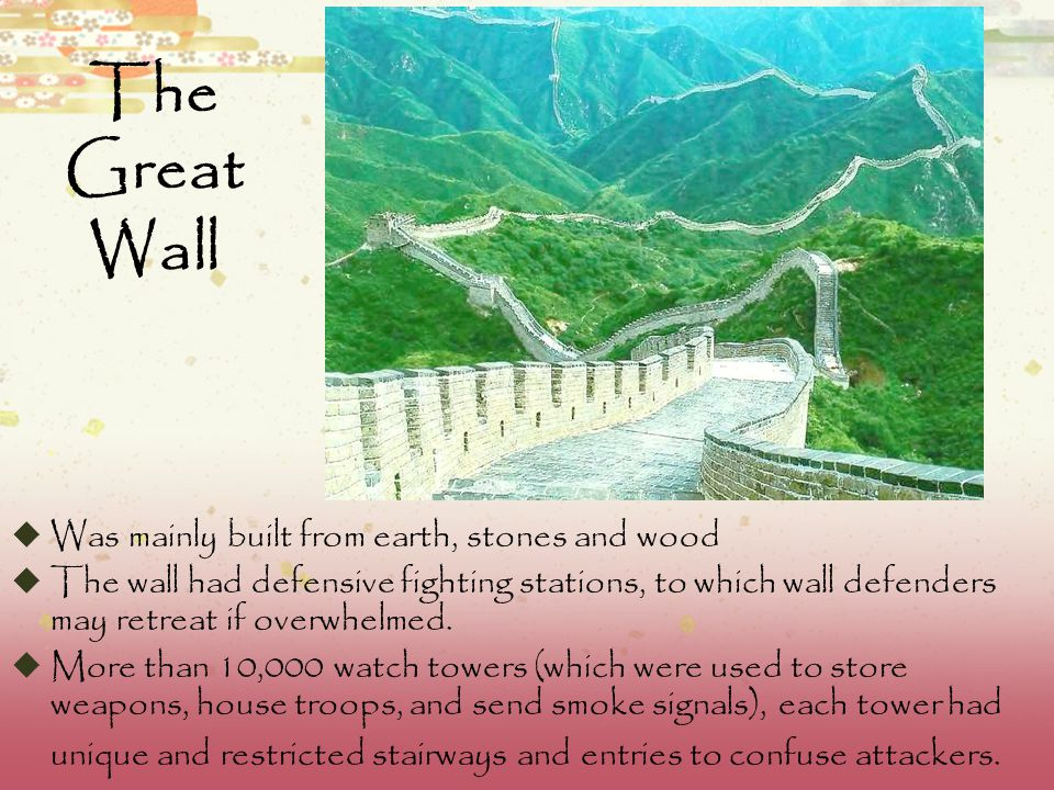 The Great Wall of China  The Great Wall of China was originally a project of the Qin dynasty designed to keep out the nomadic invaders from the north.