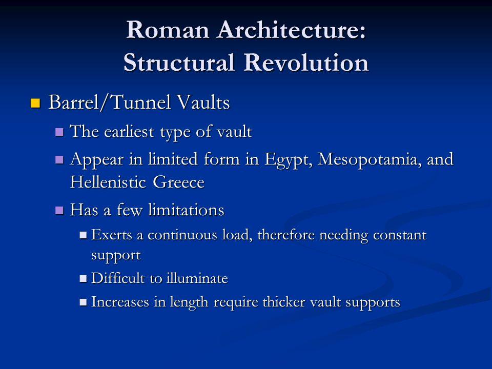 Roman Architecture: Structural Revolution Barrel/Tunnel Vaults Barrel/Tunnel Vaults The earliest type of vault The earliest type of vault Appear in li