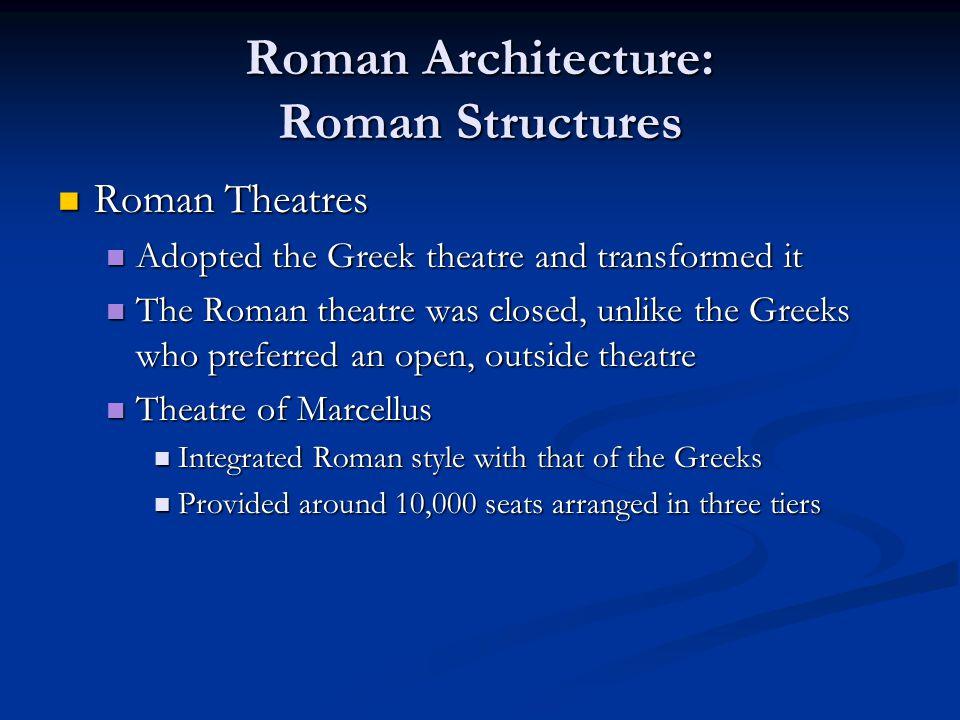 Roman Architecture: Roman Structures Roman Theatres Roman Theatres Adopted the Greek theatre and transformed it Adopted the Greek theatre and transfor