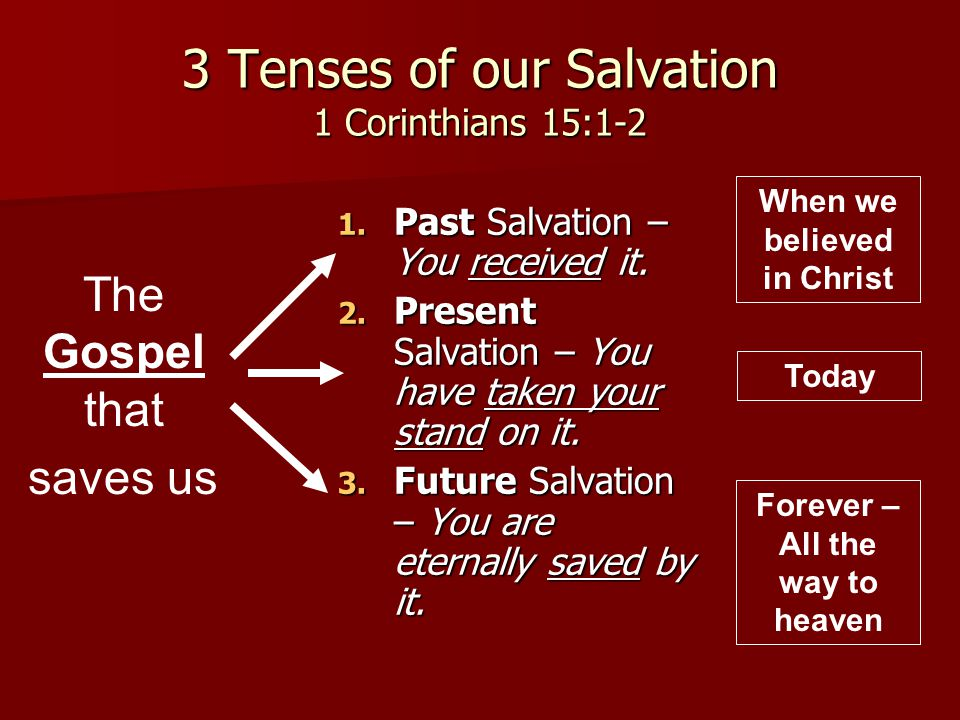 3 Tenses of our Salvation 1 Corinthians 15:1-2 1. Past Salvation – You received it. 2. Present Salvation – You have taken your stand on it. 3. Future