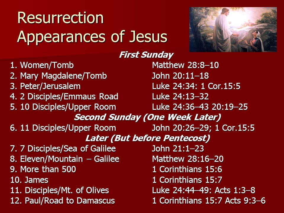 Resurrection Appearances of Jesus First Sunday 1. Women/TombMatthew 28:8–10 2. Mary Magdalene/Tomb John 20:11–18 3. Peter/Jerusalem Luke 24:34: 1 Cor.
