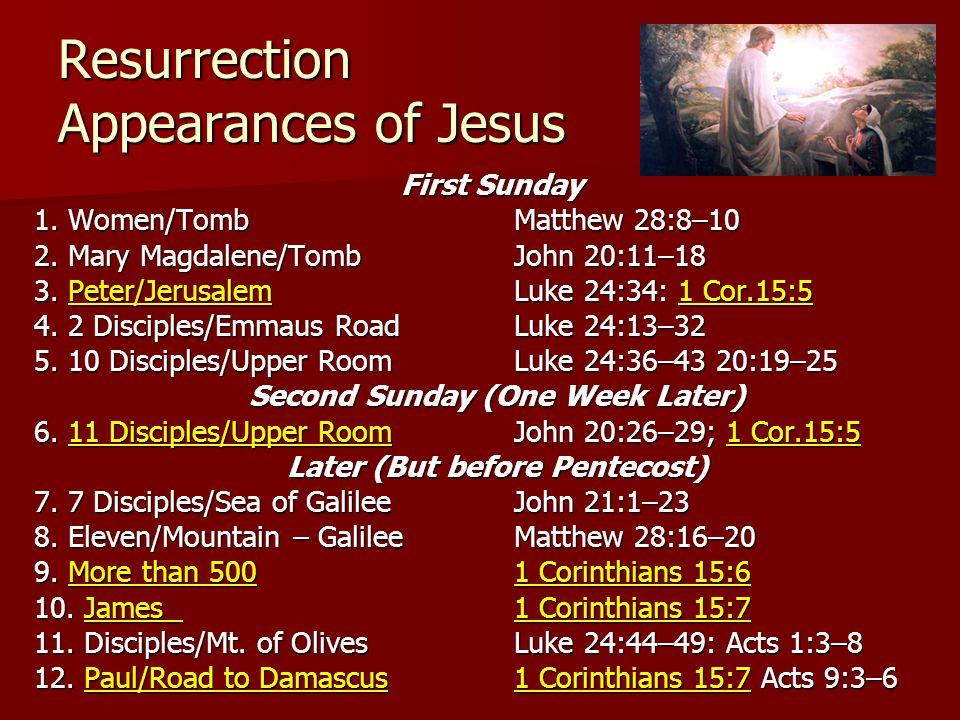 Resurrection Appearances of Jesus First Sunday 1. Women/TombMatthew 28:8–10 2.