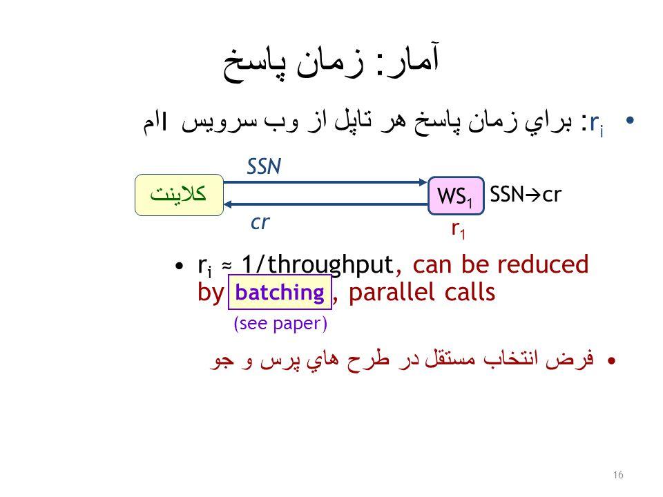 آمار : زمان پاسخ r i : براي زمان پاسخ هر تاپل از وب سرويس I ام 16 WS 1 SSN  cr کلاينت SSN cr r1r1 r i ≈ 1/throughput, can be reduced by batching, parallel calls batching (see paper) فرض انتخاب مستقل در طرح هاي پرس و جو