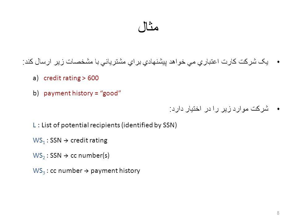 مثال يک شرکت کارت اعتباري مي خواهد پيشنهادي براي مشترياني با مشخصات زير ارسال کند : a) credit rating > 600 b) payment history = good شرکت موارد زير را در اختيار دارد : L : List of potential recipients (identified by SSN) WS 1 : SSN  credit rating WS 2 : SSN  cc number(s) WS 3 : cc number  payment history 8
