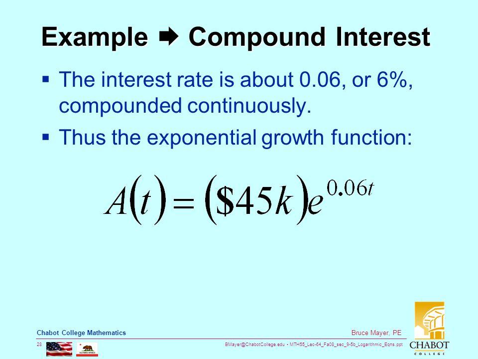 BMayer@ChabotCollege.edu MTH55_Lec-64_Fa08_sec_9-5b_Logarithmic_Eqns.ppt 28 Bruce Mayer, PE Chabot College Mathematics Example  Compound Interest  T