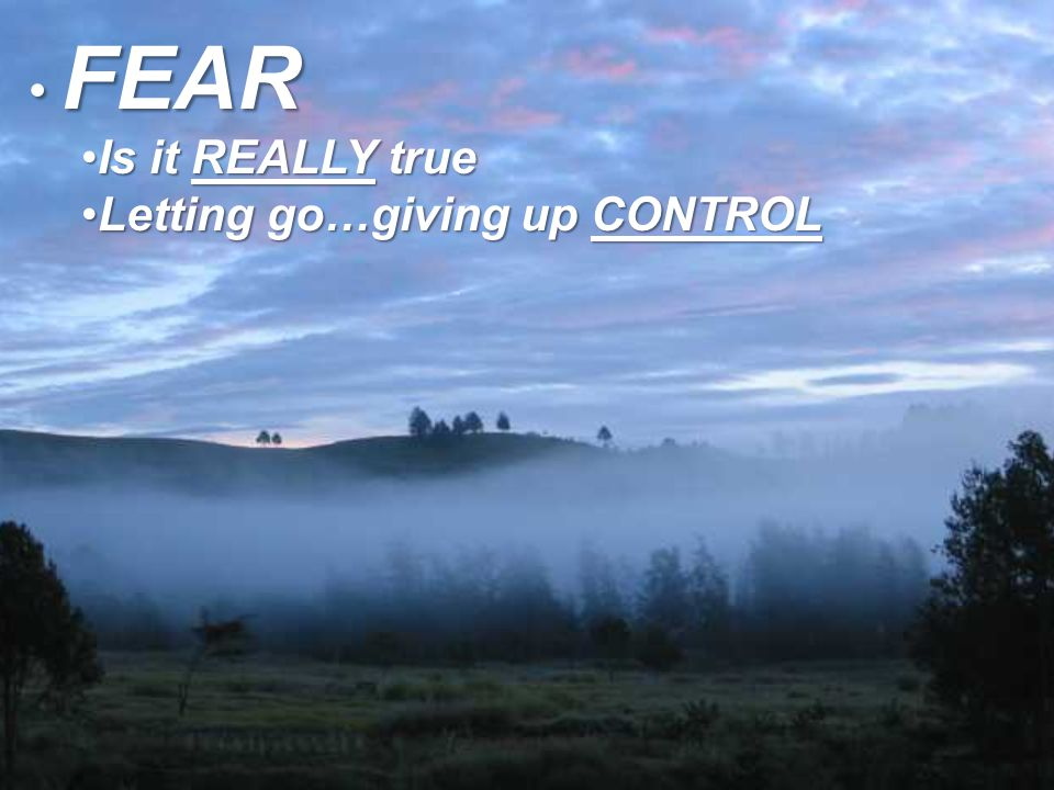 FEAR FEAR Is it REALLY trueIs it REALLY true Letting go…giving up CONTROLLetting go…giving up CONTROL