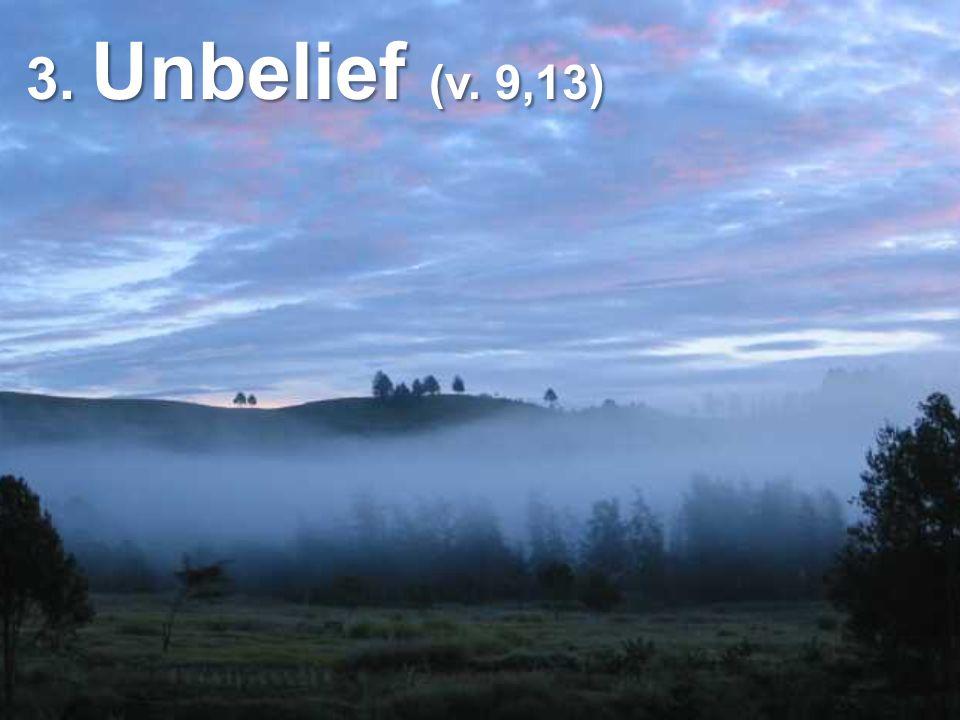 3. Unbelief (v. 9,13)