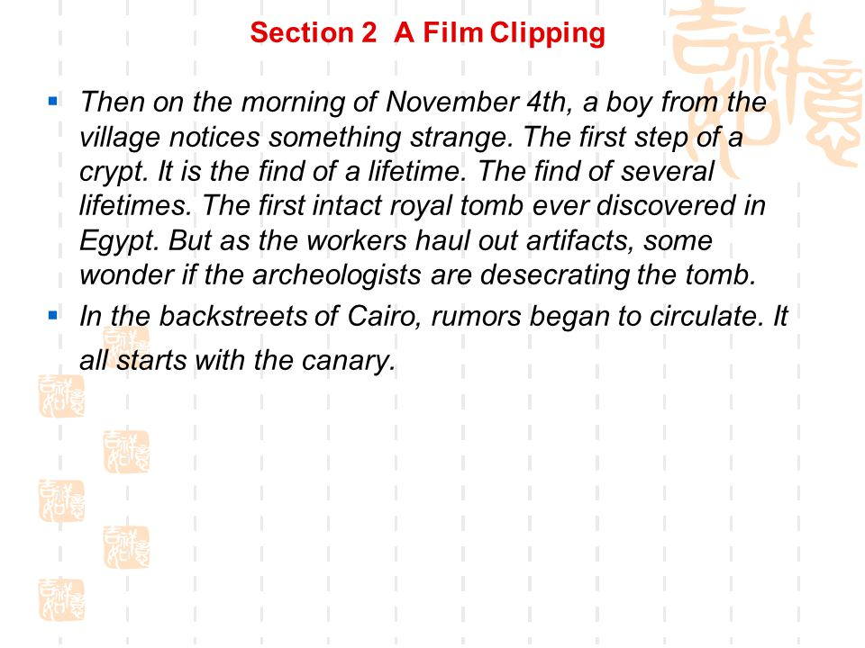 Section 2 A Film Clipping  Script for reference  You know, from this place, it starts the word curse .