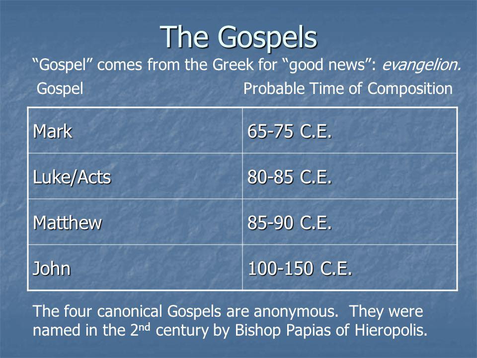 The Gospels Mark 65-75 C.E. Luke/Acts 80-85 C.E. Matthew 85-90 C.E. John 100-150 C.E. GospelProbable Time of Composition The four canonical Gospels ar