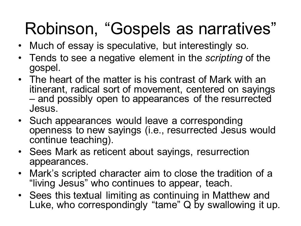 Kelber, Narrative and Disclosure Sees Mark as writing a disorienting-reorienting narrative which forestalls closure. Emphasizes the insider/outsider dichotomy seen in the parable of sower ( hina in Gk.