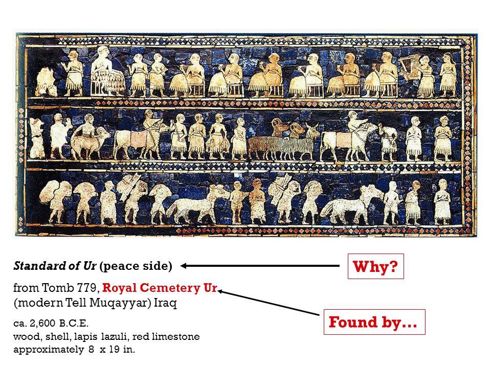 Standard of Ur (peace side) from Tomb 779, Royal Cemetery Ur (modern Tell Muqayyar) Iraq ca. 2,600 B.C.E. wood, shell, lapis lazuli, red limestone app
