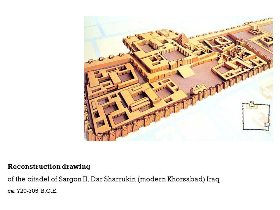 Reconstruction drawing of the citadel of Sargon II, Dar Sharrukin (modern Khorsabad) Iraq ca. 720-705 B.C.E.