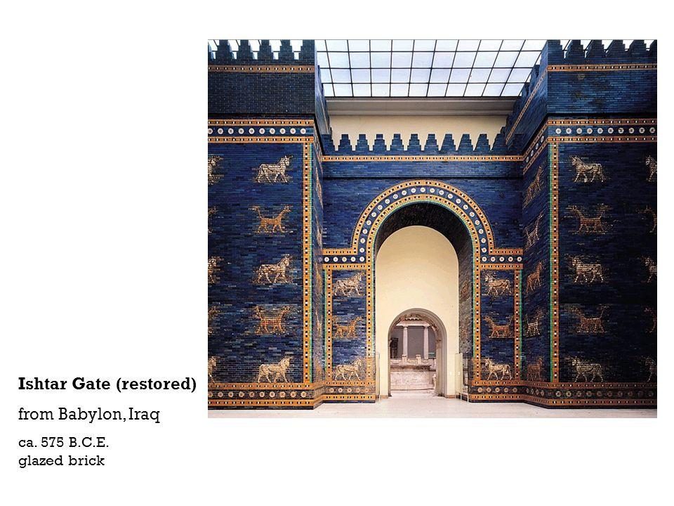 Ishtar Gate (restored) from Babylon, Iraq ca. 575 B.C.E. glazed brick
