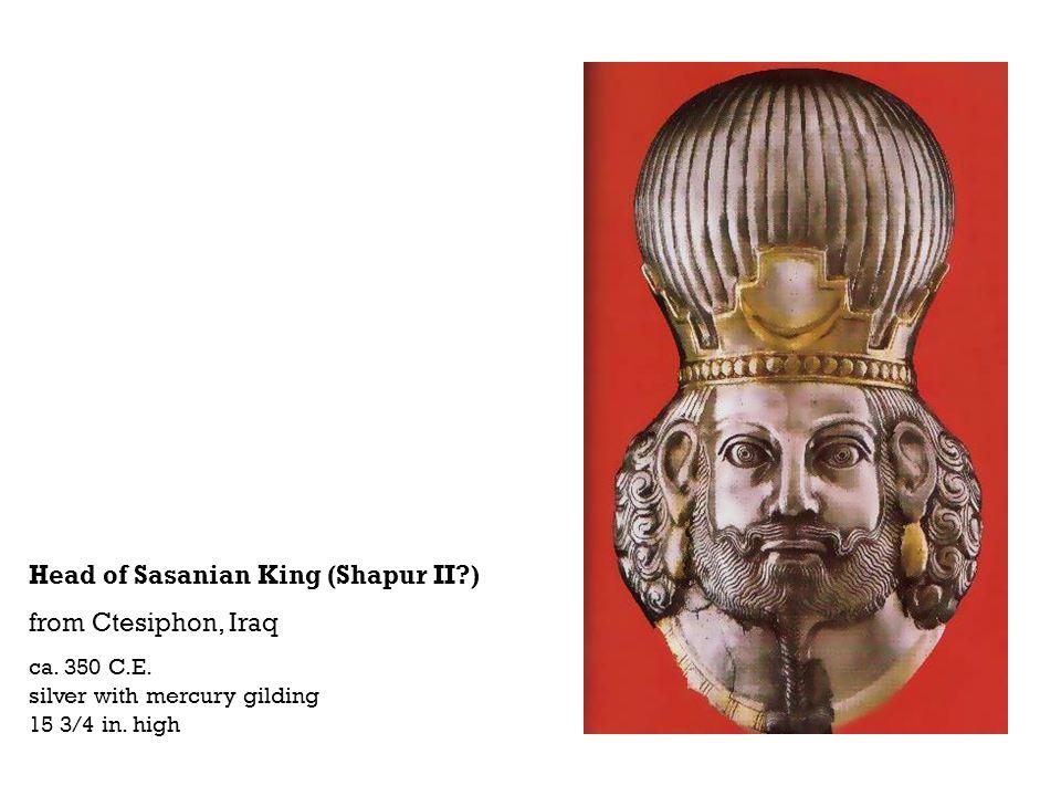 Head of Sasanian King (Shapur II?) from Ctesiphon, Iraq ca. 350 C.E. silver with mercury gilding 15 3/4 in. high