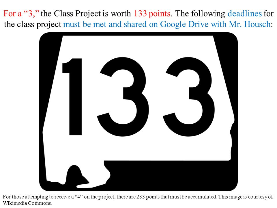 For a 3, the Class Project is worth 133 points.