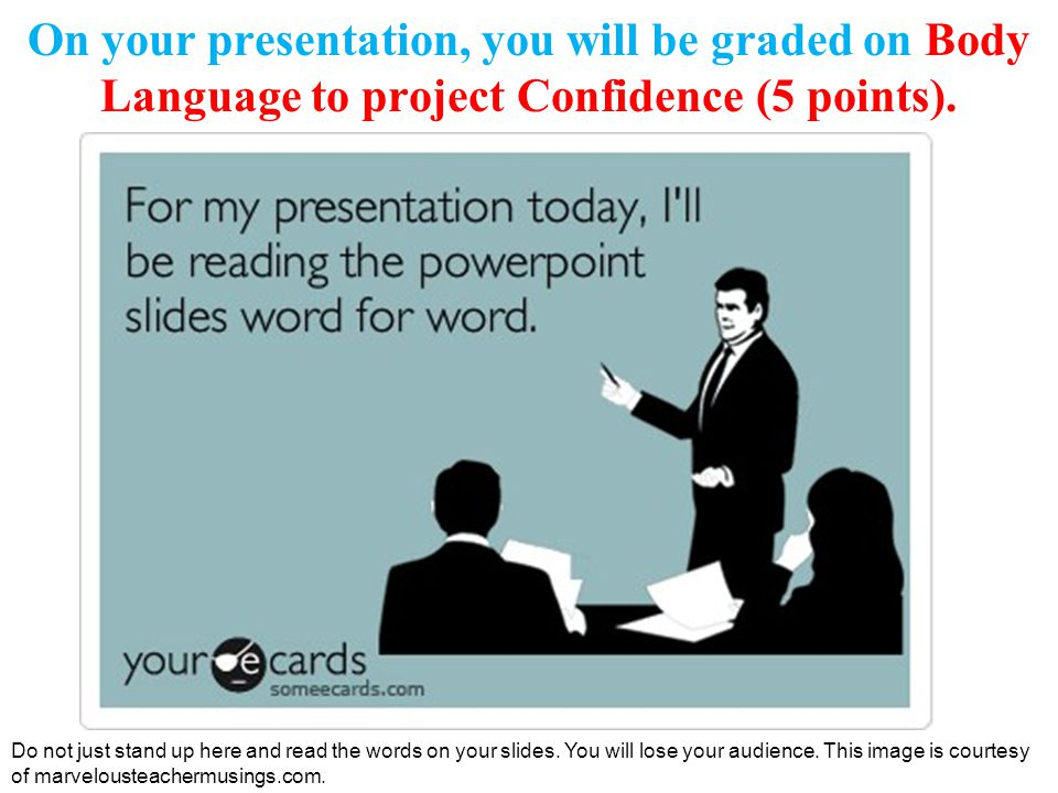 On your presentation, you will be graded on Body Language to project Confidence (5 points).