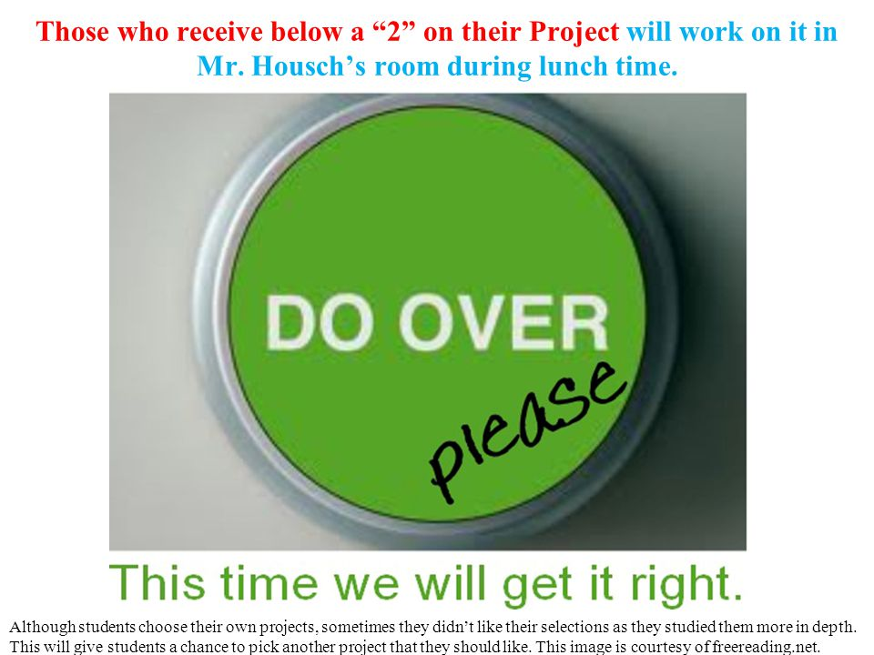 Those who receive below a 2 on their Project will work on it in Mr.