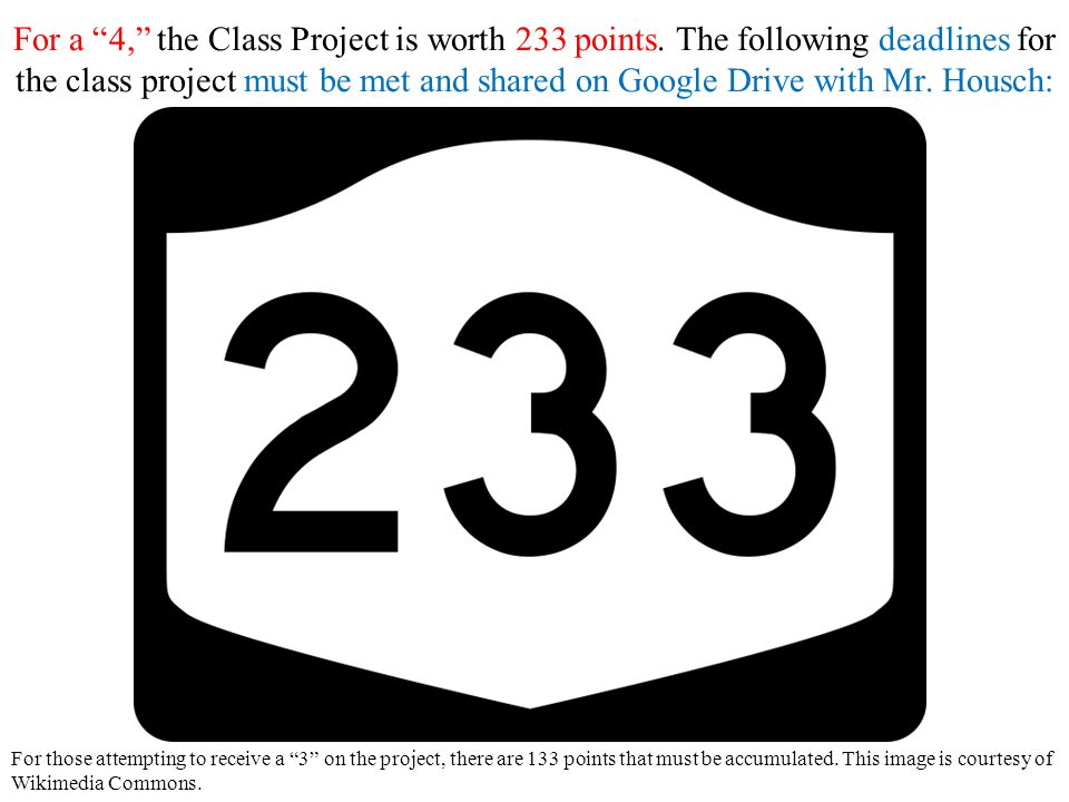 For a 4, the Class Project is worth 233 points.