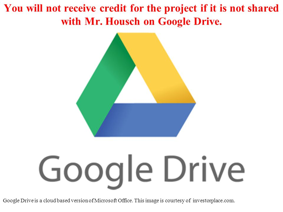 You will not receive credit for the project if it is not shared with Mr.